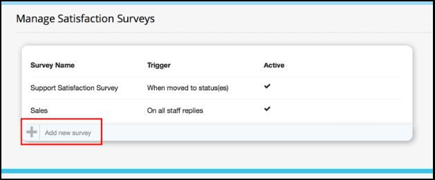 Click Add New Survey To Create A New Survey.